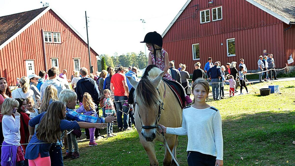 Siri Tangstad (4) måtte vente en halvtime i kø for å få seg ridetur. Men det var absolutt verdt det, hun fikk den største hesten og misunnelsen var tydelig idet hun red forbi den lange køen.