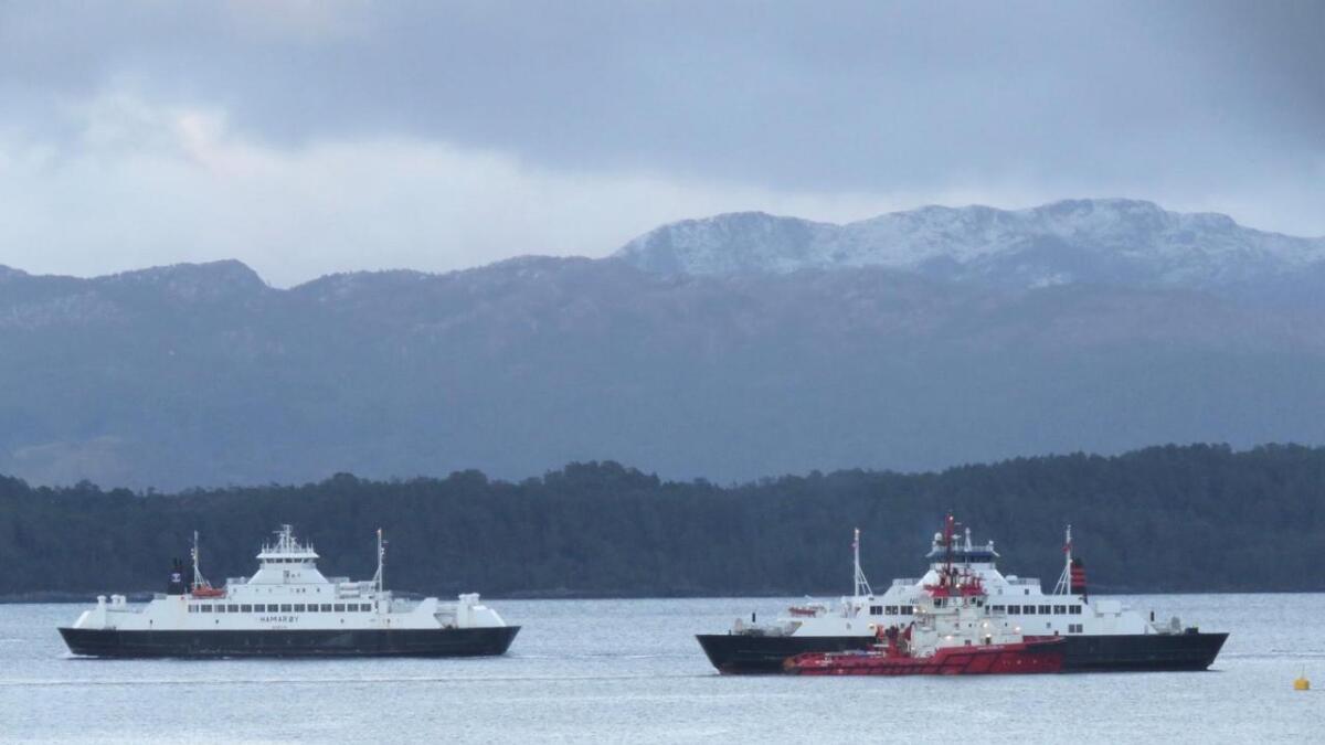 """Ein taubåt måtte komma då ferja M/F """"Vikingen"""" fekk problem søndag ettermiddag. Ferja er no på veg mot Skjersholmane."""