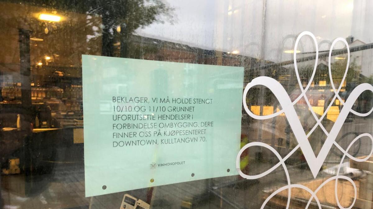 Som følge av at Vinmonopolet har fått kloakk inn i kjelleren, må de holde stengt i Storgata de to neste dagene.