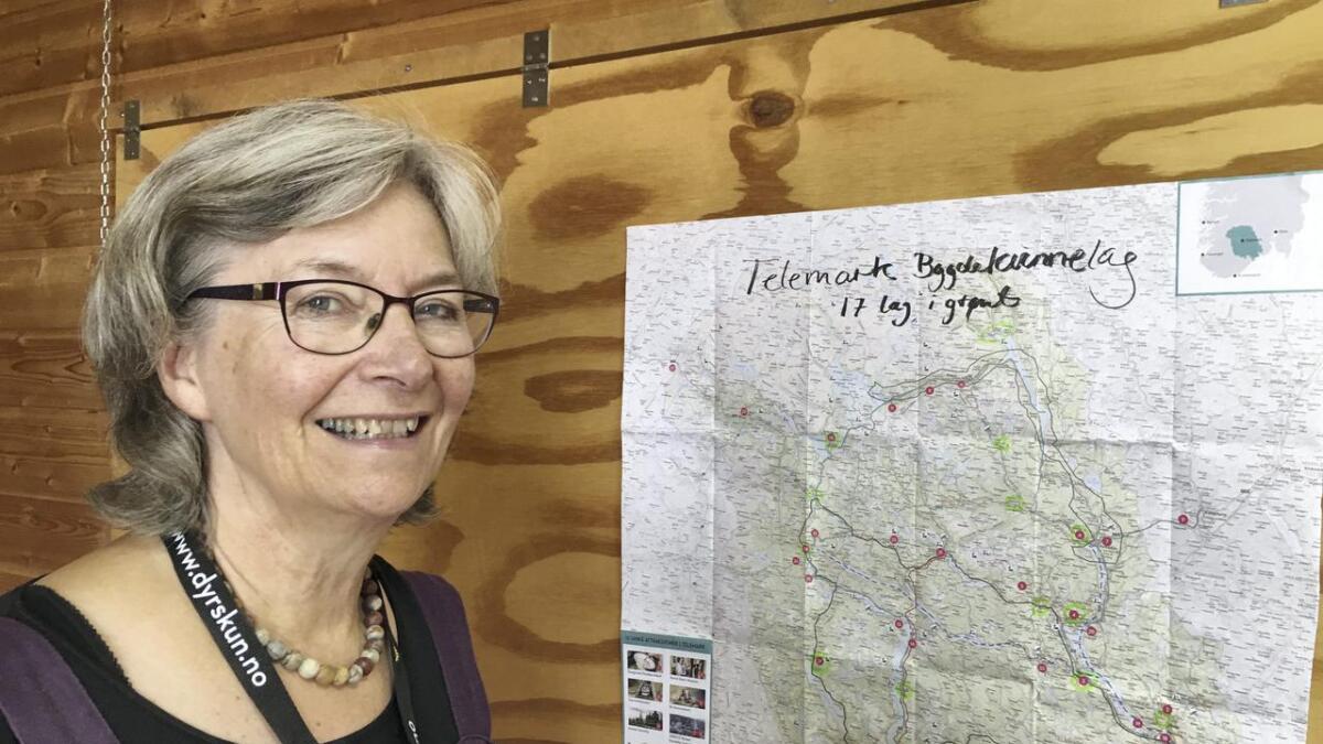 Ellen Margrethe Garn syner kartet med alle lokallaga i Telemark avmerka. ñ Men me ynskjer oss fleire, både lag og medlemer, seier fylkesleiaren.
