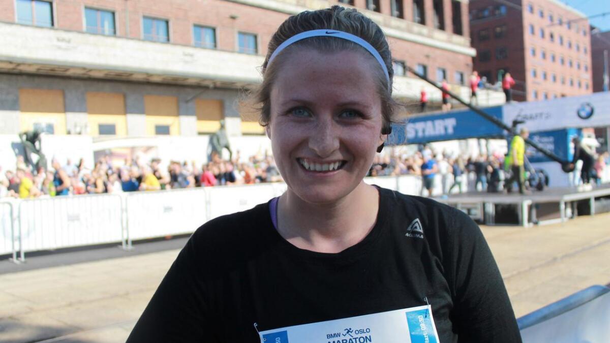 Lisa Maria Breistein Sølvberg hadde grunn til å vera nøgd med det ho presterte i sin aller fyrste start i Oslo Maraton.