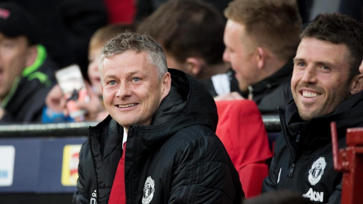 Manchester, Storbritania 20190410.  Manager Ole Gunnar Solskj‡¶r fra kampen i Champion lauge mellom Manchester United og Barcelona. Michael Carrick t.h.