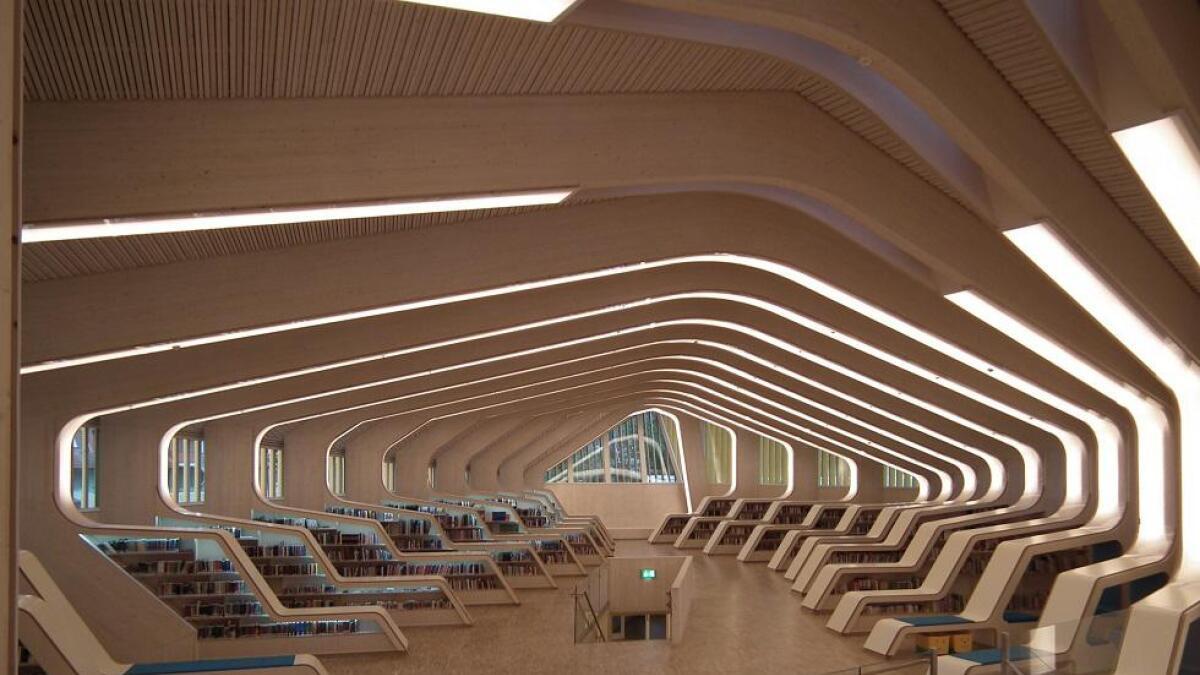 I Vennesla bibliotek er en del av bygningskonstruksjonen - en slående løsning som har vakt stor oppmerksomhet.