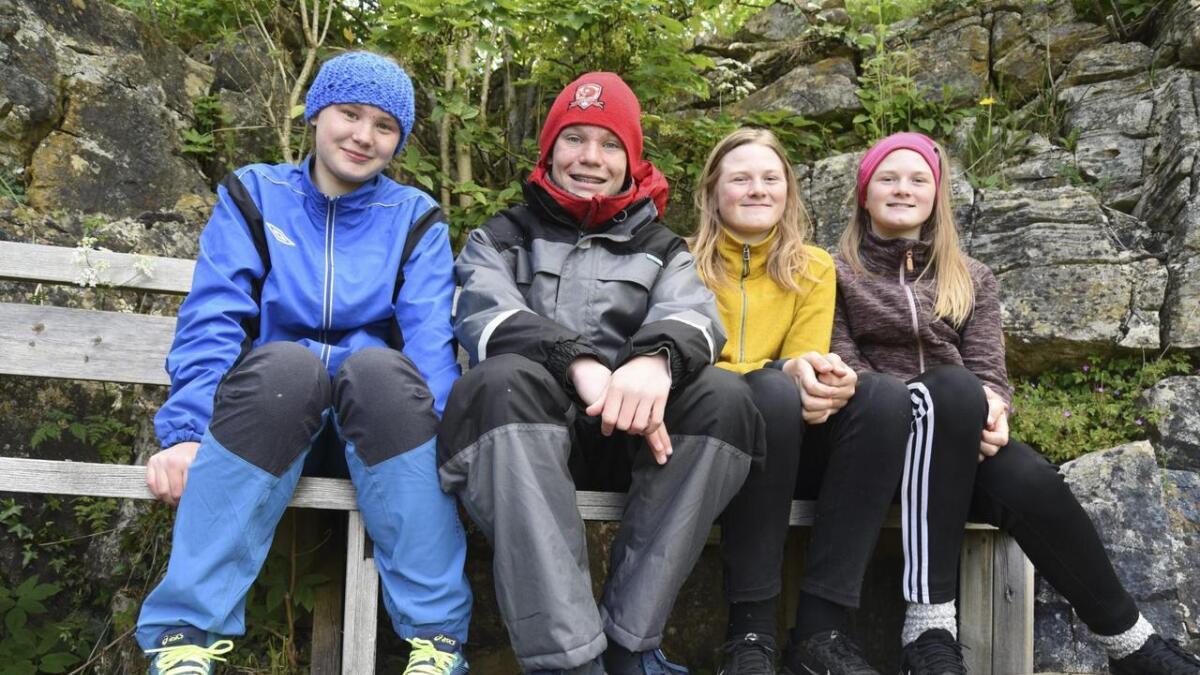 Frå venstre ser me Sunniva Helene Nygård (12/Vesle-Tor), Jakob Willem Økland (13/Tor med hammaren), Lea Meling (12/Trym Trollkonge), og Ylva Meling (12/Loke)