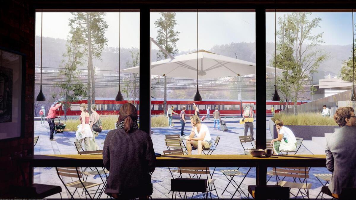 Det ligg no føre planar om å revurdera K5-forslaga om å byggja nye jernbanestasjonar på Stanghelle, som illustrasjonen viser eit av forslaga til, og Vaksdal.