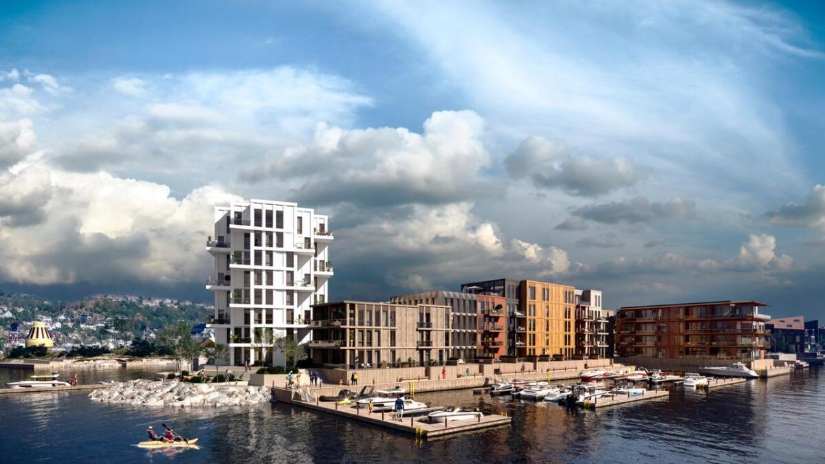 Slik blir første byggetrinn av Bryggebyen sett fra fjorden. Det er stor interesse for den nye bydelen på Vindholmen, der 30 leiligheter ble solgt på ei uke. Leilighetene som er solgt, er i alle prisklasser, fra 1,8 million kroner til 11,8 millioner kroner. Spaden kan settes i jorda allerede i juni.