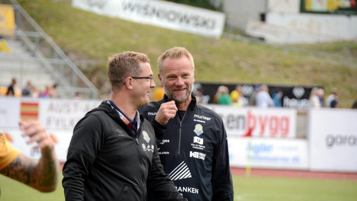 daglig leder i Jerv, Trond Christoffersen og Jerv-trener Arne Sandstø er godt i gang med letingen for å finne Tønnessens erstatter.