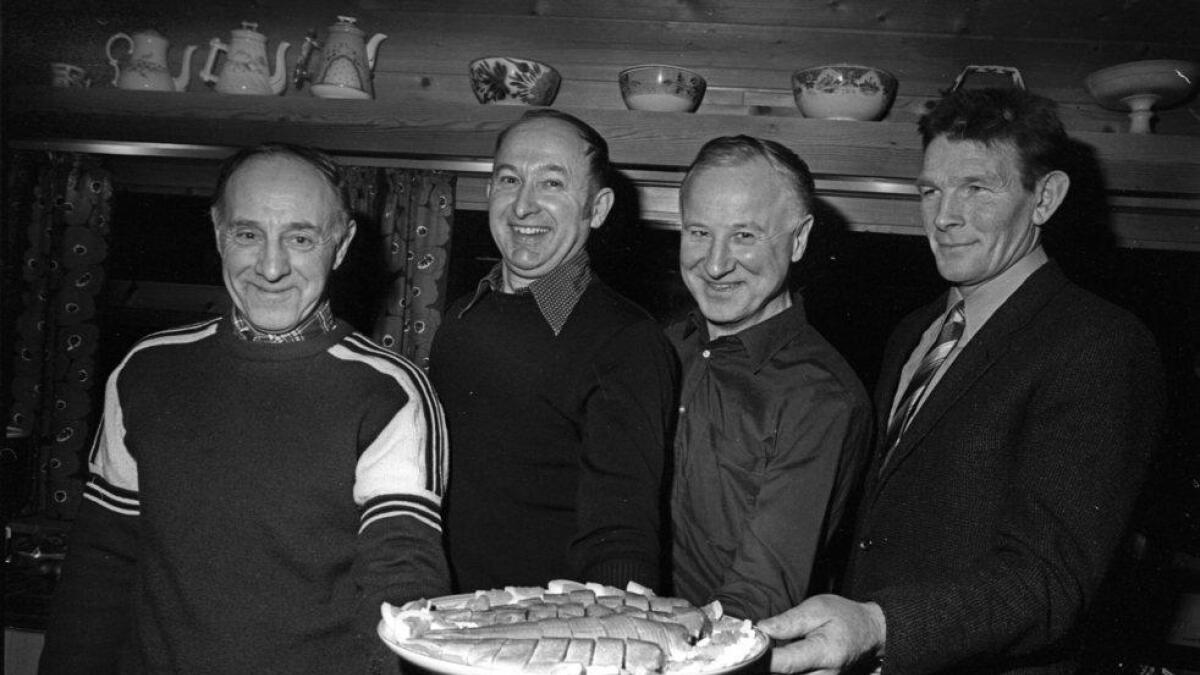 Dei stifta «Hallingfisk», f.v. Knut Gunhildgard, Konrad Pedersen, Sigurd Kirkebøen og Olav Jonseth