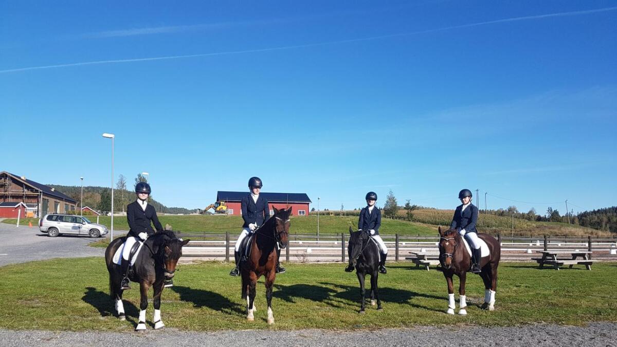Frå venstre Bergljot Bjella, Tiril Bergheim Jegleim, Hannah Bergheim Jegleim, Ronja Gjeldokk, som deltok i KM individuelt.