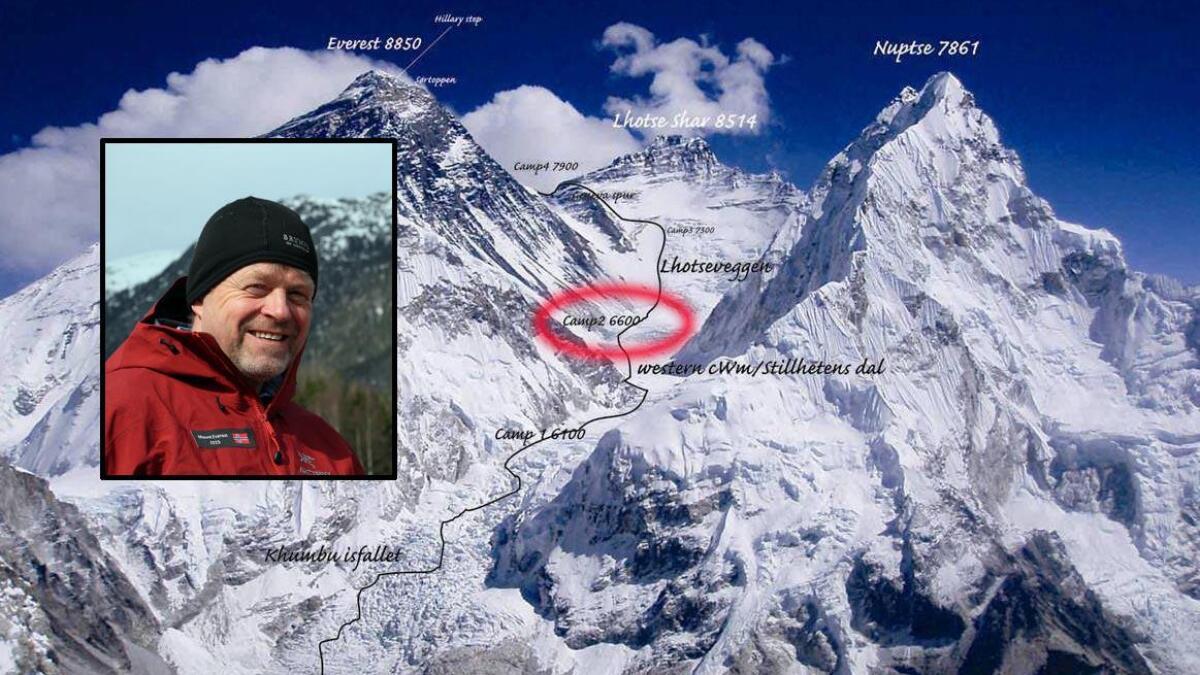 Per- Ivar Magnushommen sitter fast i basecamp 2, på 6200 meter.