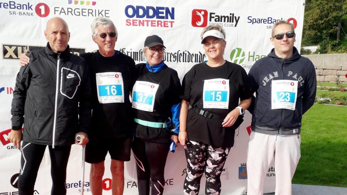 Denne gjengen bestående av Anne, Gordon, Monica, Kim, og Svein (i tilfeldig rekkefølge) fra Frisklivssentralen, gjennomførte Grimstad Maraton på mesterlig vis.