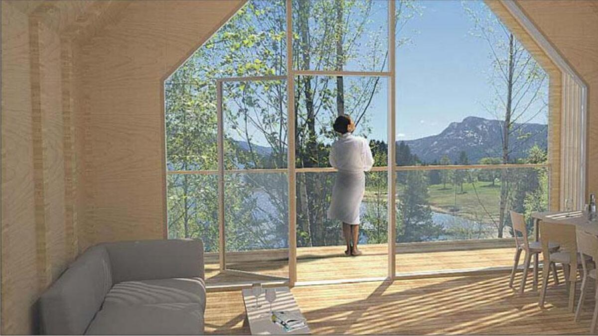 Arkitektane for Svivkollen hyttefelt legg vekt på at brukarane av fritidsbustadene skal ha utsikt. (Arkitektteikning)