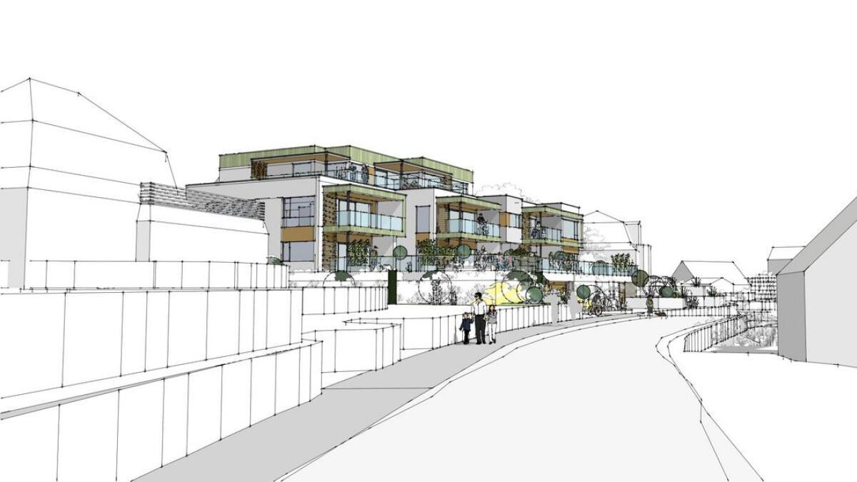 Eit nytt leilegheitskompleks med totalt sju bueiningar er tenkt i bygget.