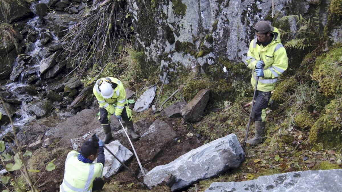 Eit par tak med krafsa, og så lempar dei stein på nær eitt tonn  på plass med handemakt.