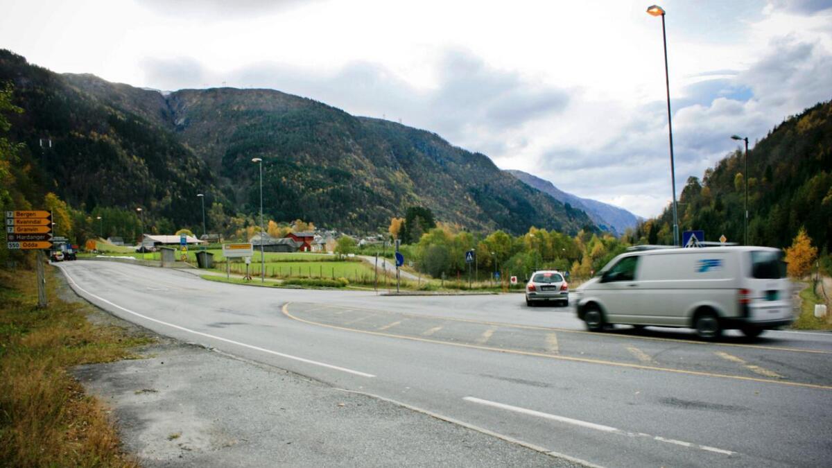 Her, i Kjerlandskrysset i Granvin, var det trafikkontroll tysdag.