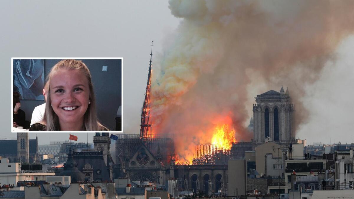 Angelica Glad er for tiden i Paris, men bor i et annet distrikt enn den berømte katedralen. Hun hørte sirenene, og så bildene av brannen på nett.