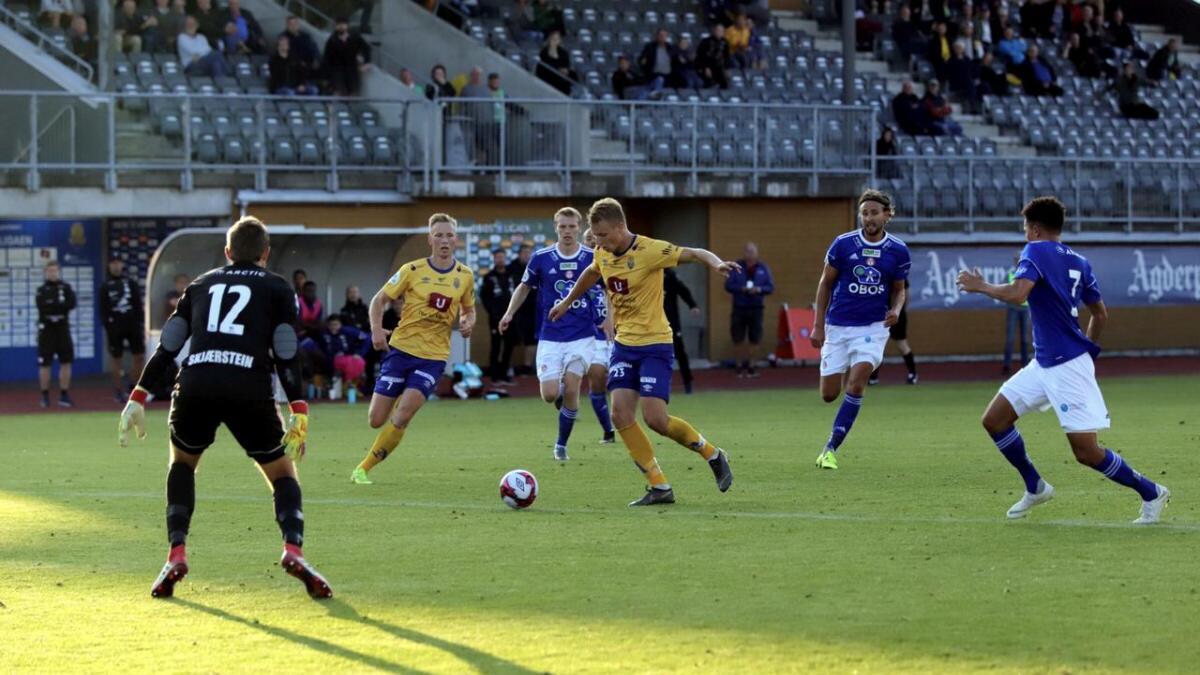 Ole Marius Håbestad setter sikkert inn 2-2-utliknet tre minutter før full tid, etter gjennomspill fra Michael Baidoo. For andre gang på fire dager sikret Håbestad dermed poeng for Jerv.
