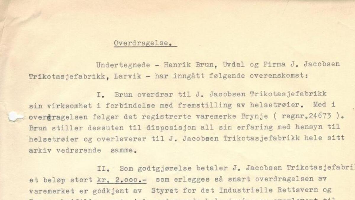 For 2000 kroner i juli 1953, sikra Henrik Brun at oppfinninga fekk bein å gå på.
