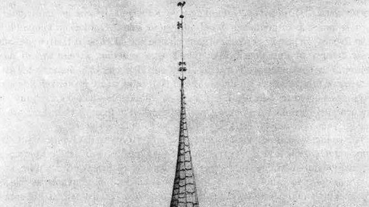 I 1846 laga Jonas Nicolai Prahm denne teikninga av stavkyrkja i Gol.