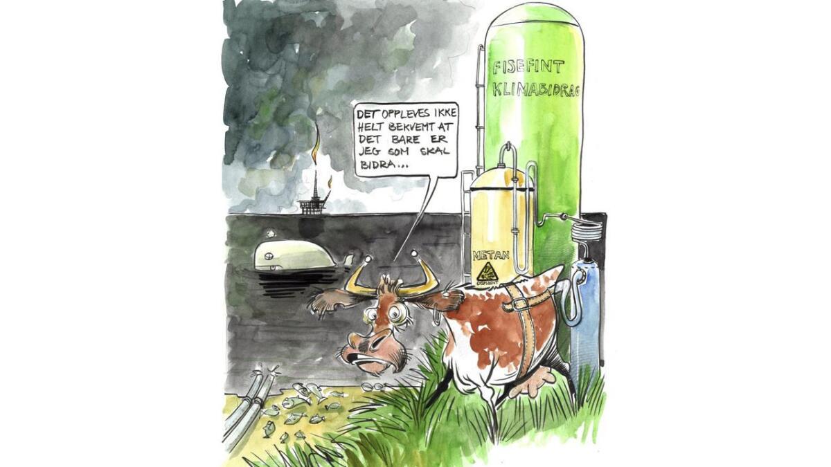 Utslipp fra jordbruk står faktisk for 8,7 prosent av Norges totale klimautslipp. Det er stort sett metan og lystgass fra husdyr og gjødsel som sørger for det.