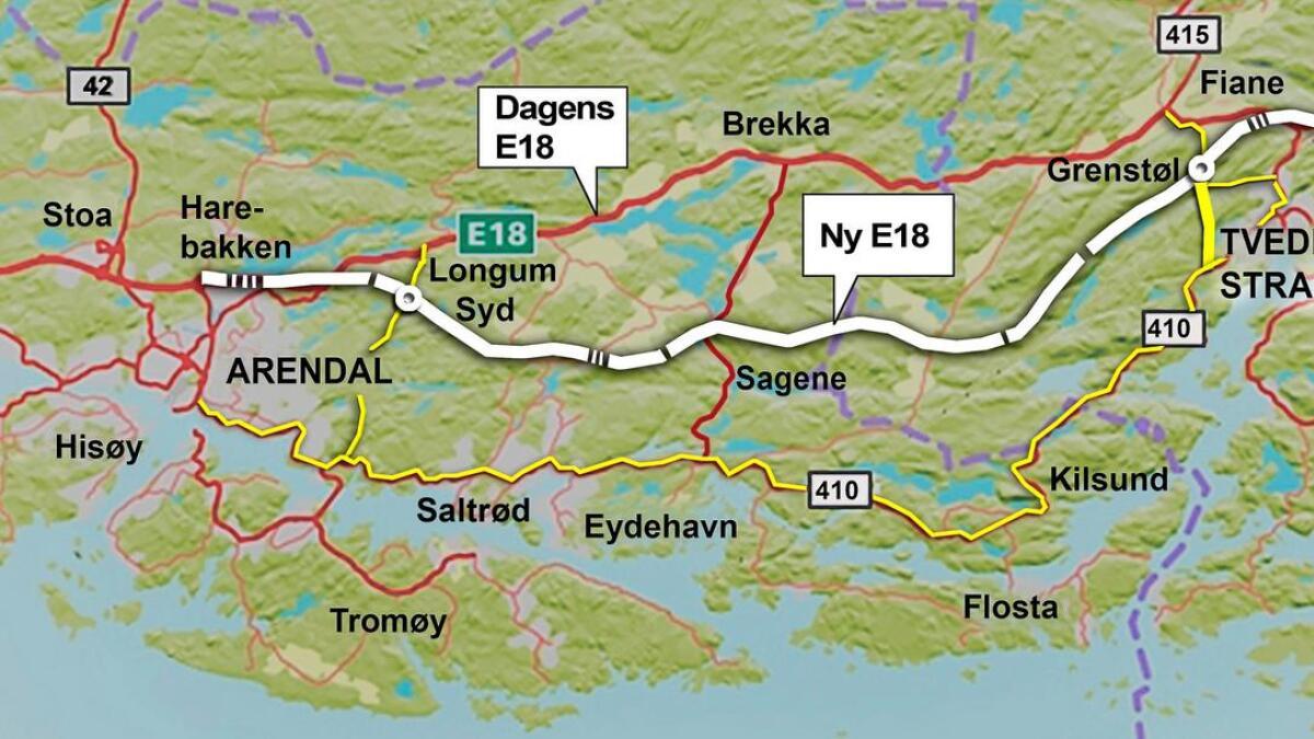 Grovt kart over traseen. Gul strek viser snarvei via rv 410 og til Grenstøl.