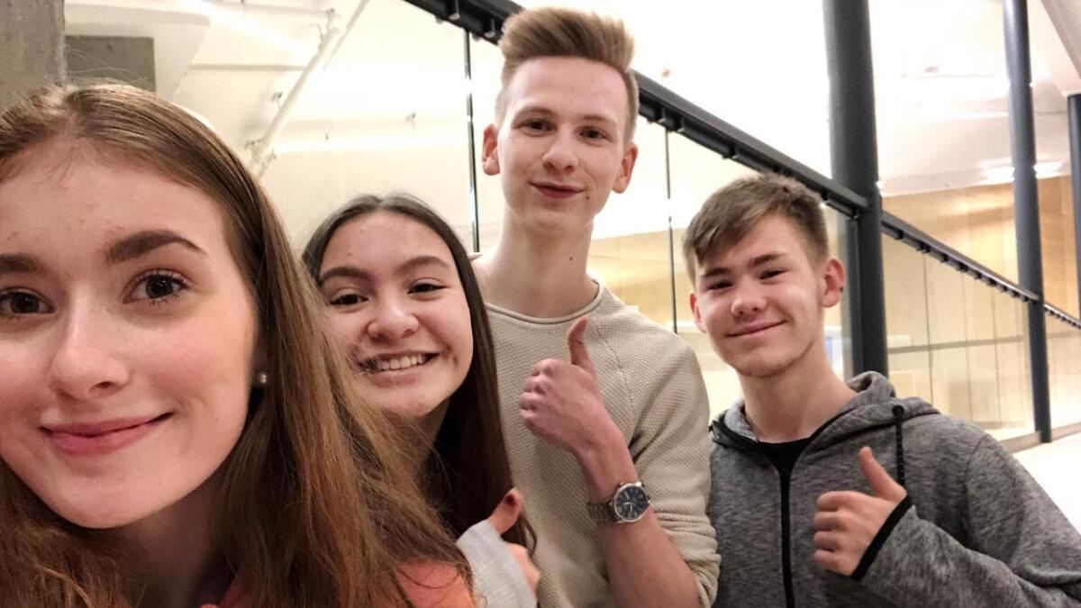 Johanne Bergliot Klausen, Annabel Folden (reserve), David Ra og Robert Sollie Liland. (Selfie)