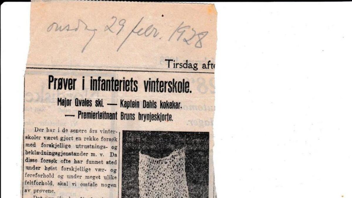 Bruns brynje var alt skriven om i Aftenposten onsdag 29. februar 1928. Det er første skriftleg kjelde funne om helsetrøya. «Jeg selv bærer den innerst ved kroppen natt og dag og den er blitt mig et uerstattelig plagg. Hertil må den vel sies hygienisk og rage høit», skreiv Brun sjølv om plagget.