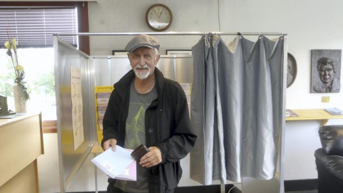 Ivar Vatne var ein av dei som førehandsrøysta på Voss ved dette valet.