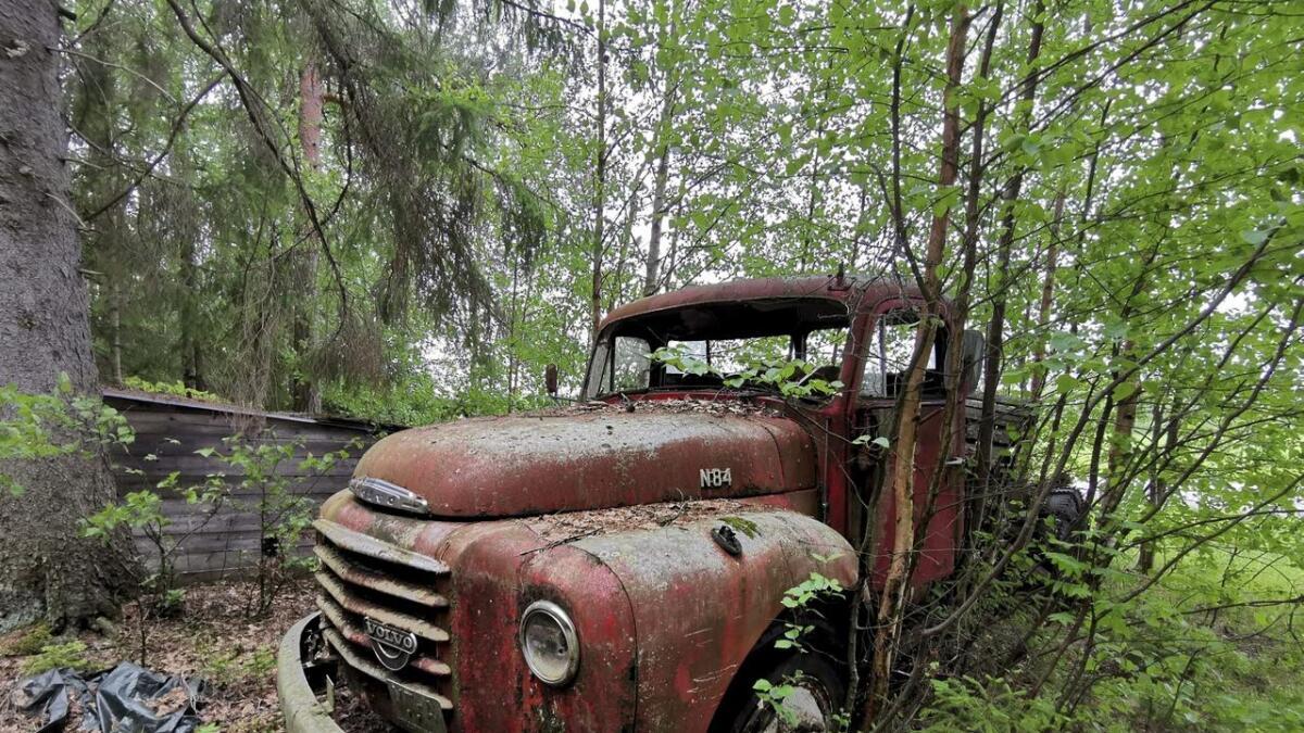 Denne Volvo N84 lastebilen står godt plantet i skogen med det rare i langs Folmovegen rett nord for Årnes sentrum.