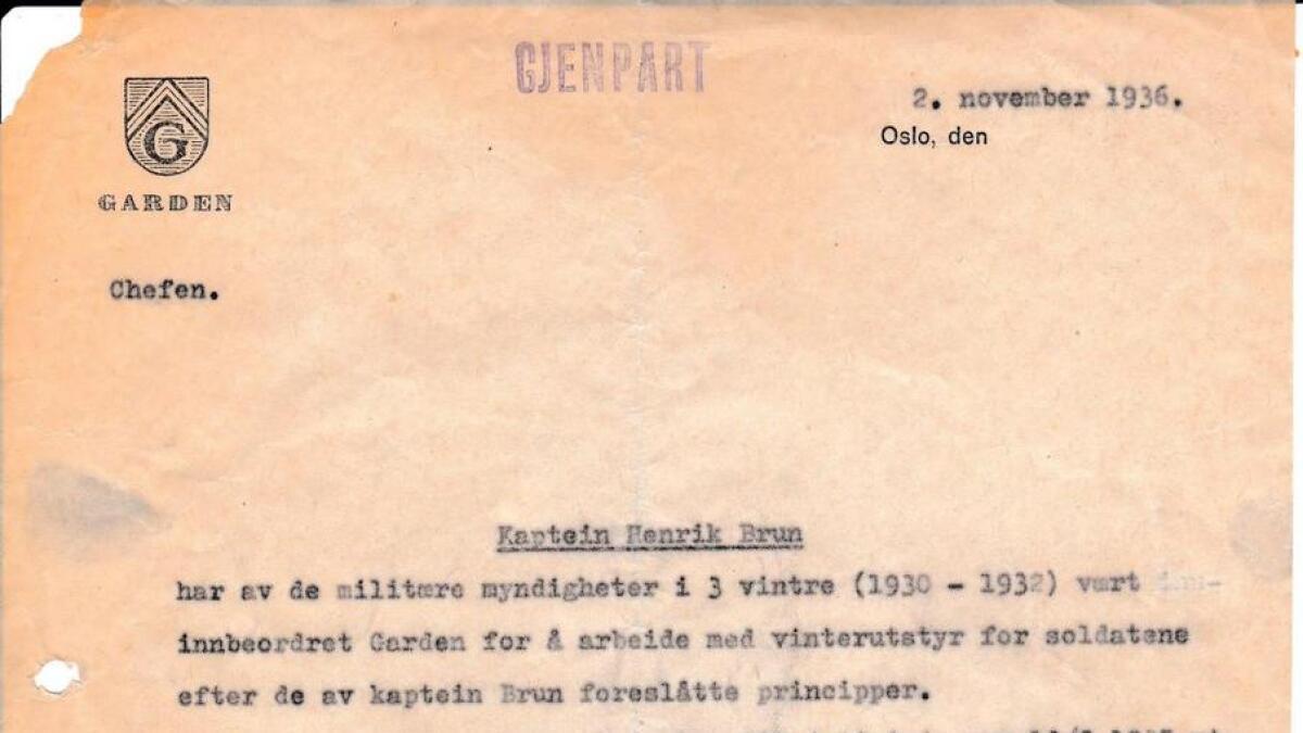 Brev adressert til Henrik Brun, helsetrøya - litt usikker om det er vits å ha desse med. Har fleire brev, men har sitert i teksten frå nokre av dei.