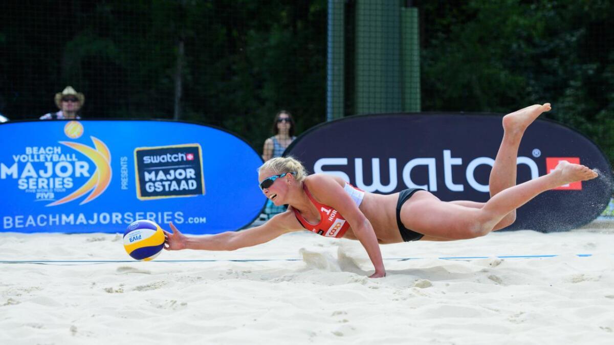 Emilie Olimstad flytter til Tyskalnd for å spille volleyball. Her fra Beach volley major series i Gstaad i Sveits i fjor.