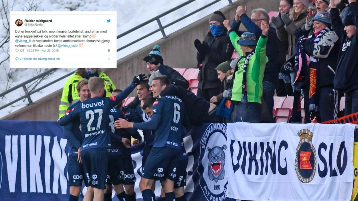 Vikingfansen hylles av Odd etter kampen på Skagerak Arena tirsdag. Her fra et tidligere oppgjør. Driftsleder Reidar Midtgaard twitret etter kampen om hvor imponert han var av Viking-fansen.