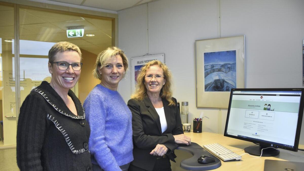 Heidi Øverheim Henriksen, avdelingsleder for kommunale tjenester hos Nav Nes, Lill Monica Kirsebom Ottesen, Tjenesteutvikling Helse Digitale Gardermoen og leder for Nav Nes, Merete Hultin von der Fehr.