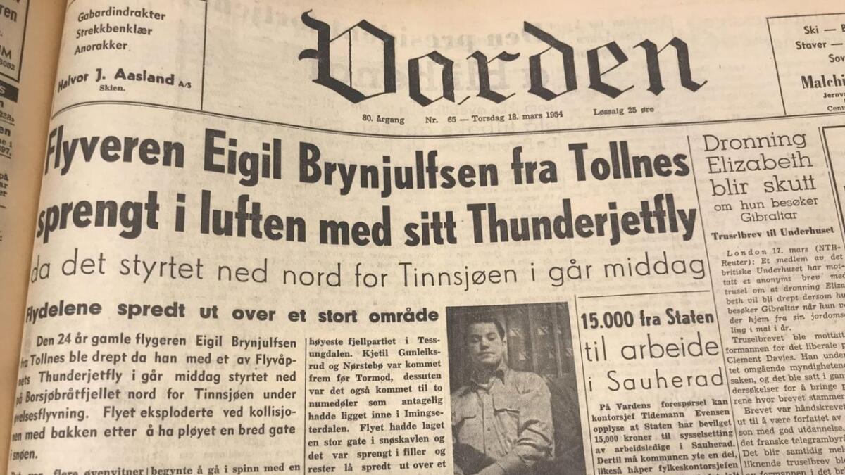 Varden 18. mars 1954, dagen etter ulykken 17. mars 1954.