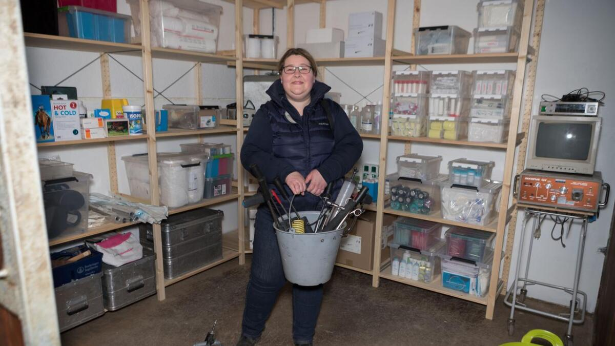 Veterinær Ellen Senum åpner ny hesteklinikk på Fevik til lørdag.
