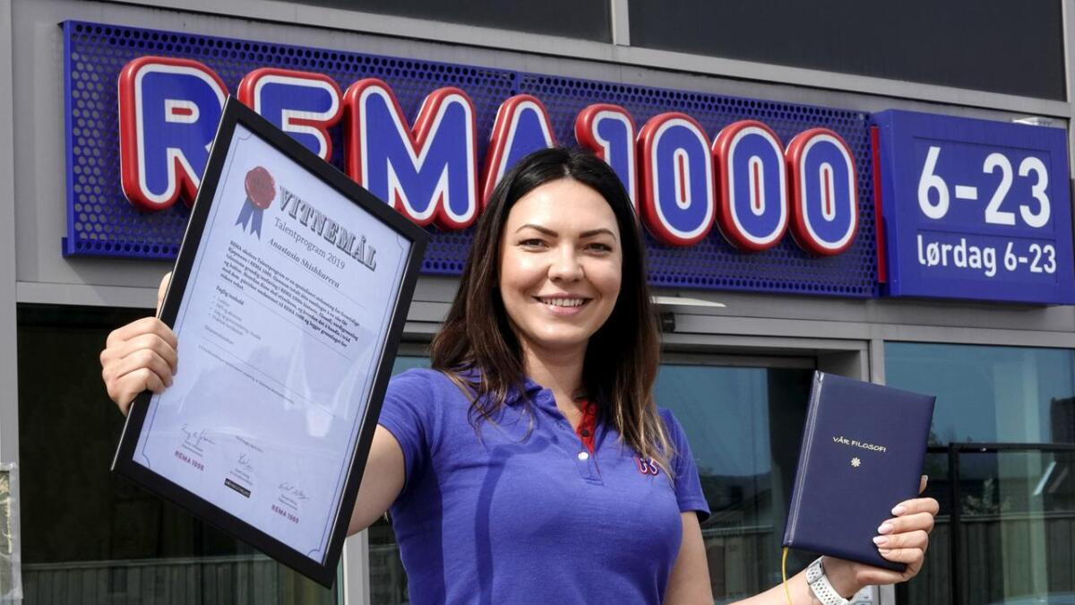Anastasia Shishkareva avsluttet kjedens talentskole i vår og gleder              seg til å overta ansvaret for Rema 1000 på Kjørbekk.