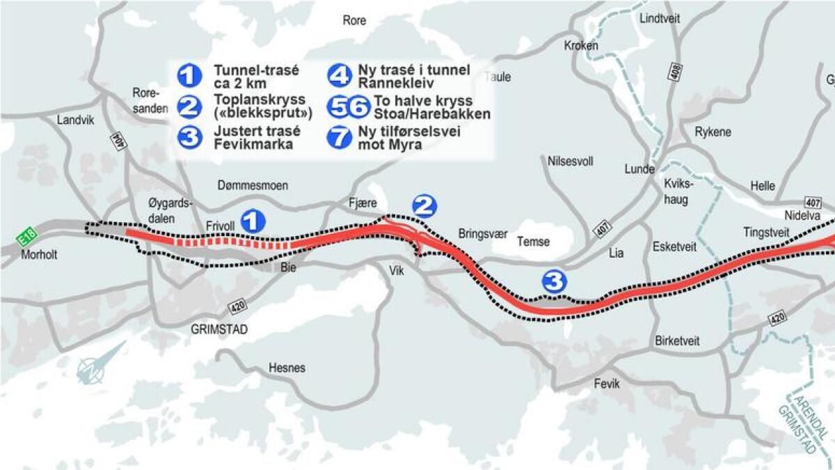 Her er det justerte kartet som viser avgrensningen (stiplet strek) til den interkommunale kommunedelplanen for ny 4-felts E18-motorvei mellom Grimstad og Arendal. Rød strek er anbefalt linje – men helt nøyaktig plassering skal fastlegges i en senere reguleringsplanprosess.