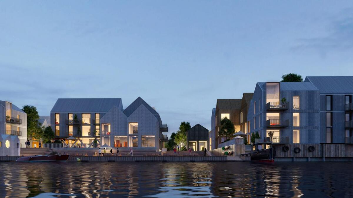 Vill urbanisme har laget dette forslaget for Torskeholmen, og denne illustrasjonen gir en pekepinn på hvordan det muligens kan bli seende ut ferdig utbygd.