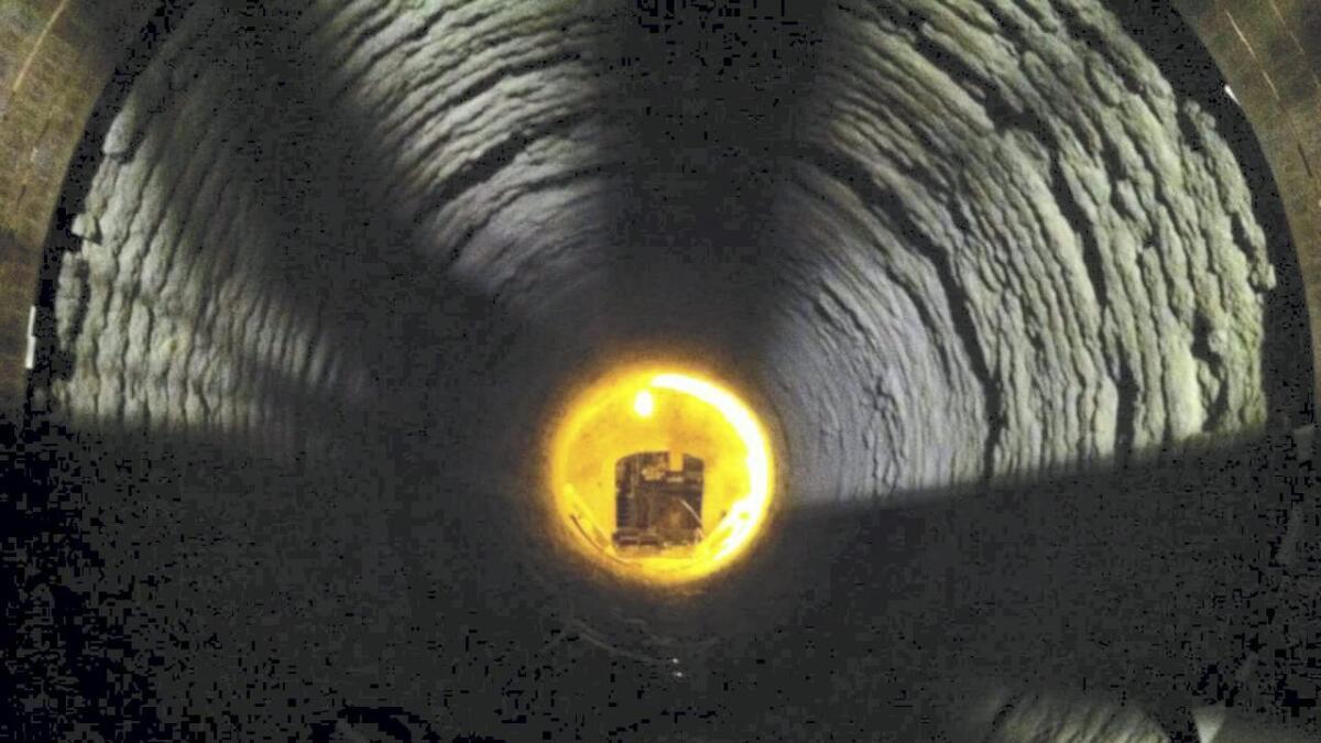 Bildet er tatt på innsiden av ovnen til Norcem Brevik.