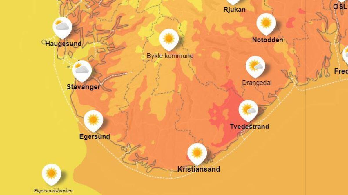 Det kan bli veldig varmt den kommende uka ifølge yr.no. Her er varslet for tirsdag kveld.