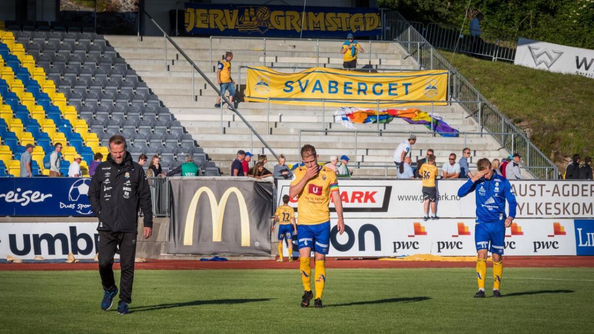Jerv har slitt med uttellingen denne sesongen. Her depper Jerv etter 0-0-kampen mot Sandnes Ulf, en av flere kamper Jerv burde ha vunnet i år.