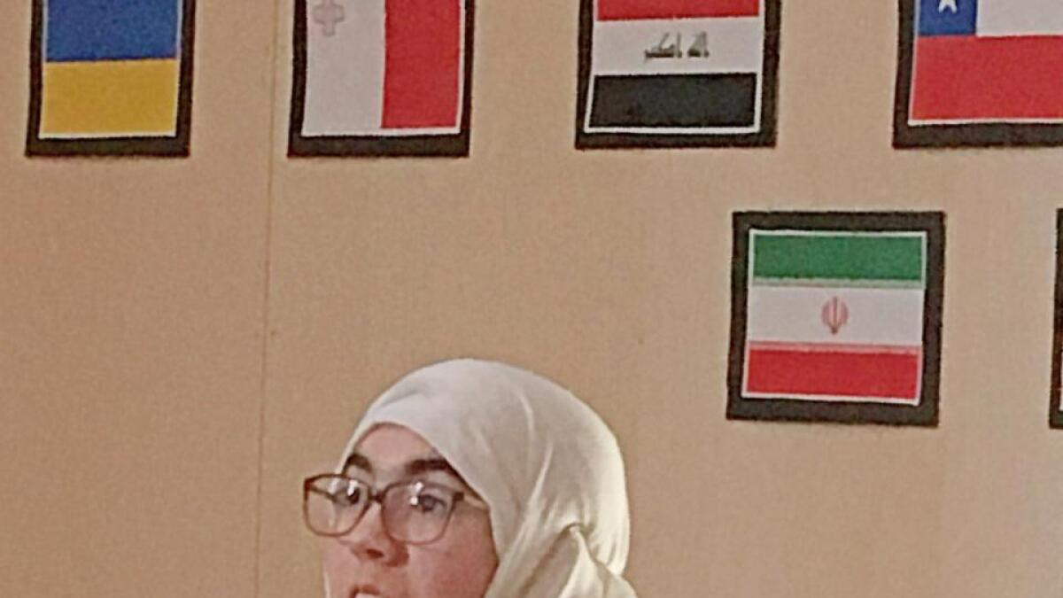 Shahed Ghalyoun då ho presenterte oppgåva si om ramadan sist fredag.