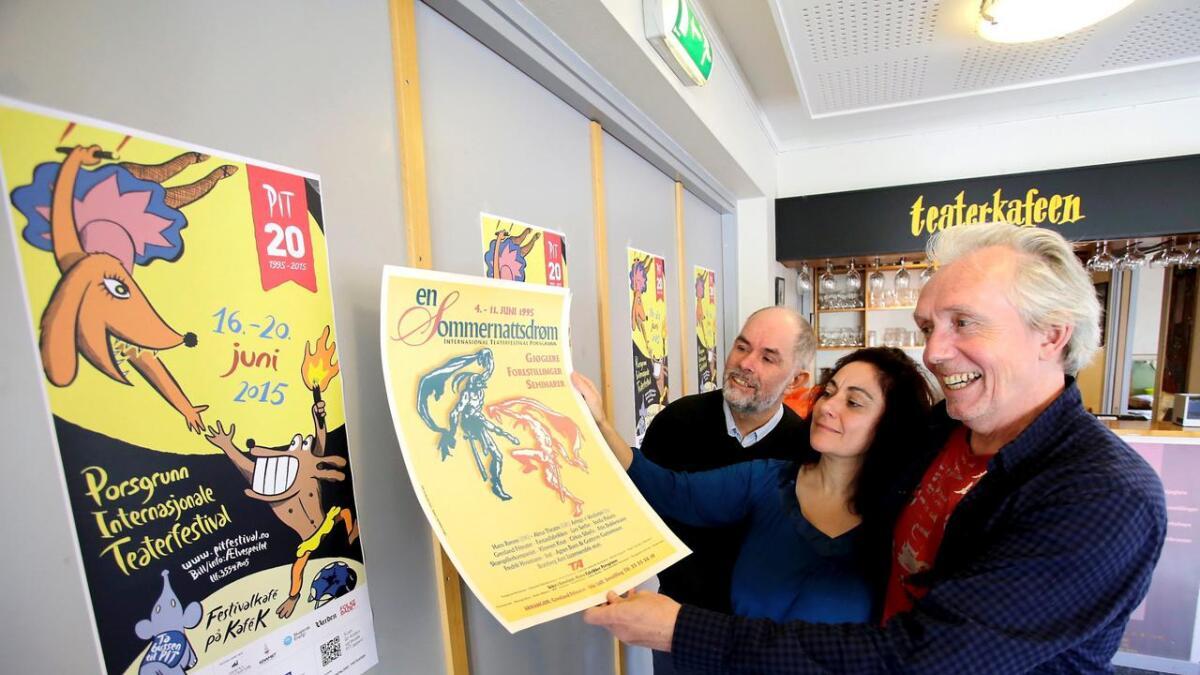 Trond Hannemyr, Anette Hagnell og Hans Petter Eliassen med årets plakat og den første for 20 år siden.