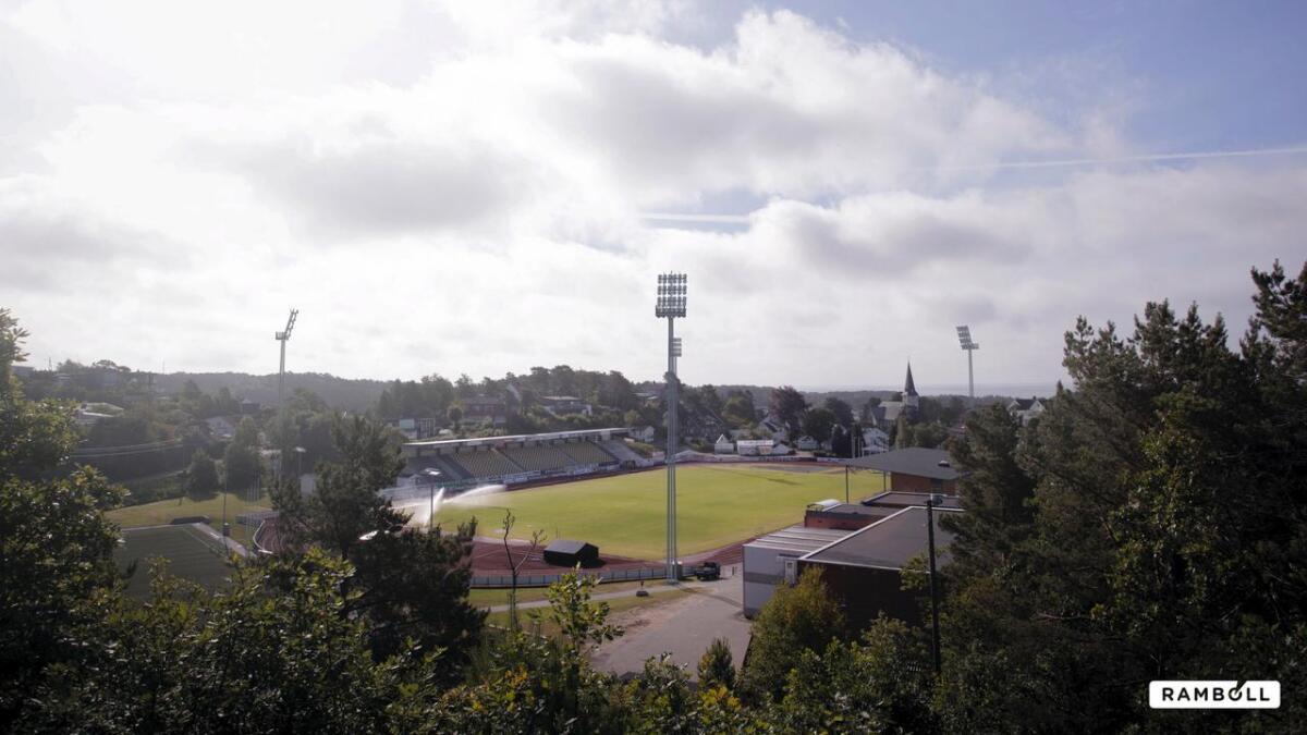 Slik er de tenkt å se ut, mastene som skal sørge for flombelysning til Levermyr stadion.