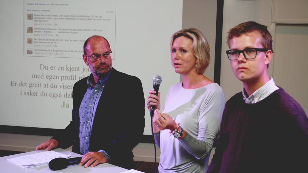 I kommentarpanelet er Morten Rød (T.V.), sjefredaktør i Agderposten, Marianne Drivdal, ansvarlig redaktør i Tvedestrandsposten, OG Tord Hustveit FRA Unge Venstre.