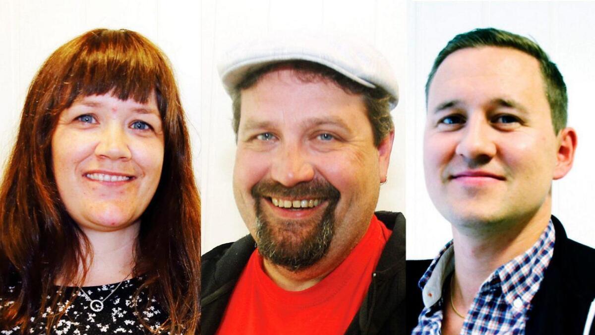 Denne trioen er no i fellesskap komen endå nærare politisk makt i Vaksdal kommune. Frå venstre Hege Eide Vik, Senterpartiet, Kjartan Haugsnes, SV og Erlend Hesjedal-Johannessen, Høgre.