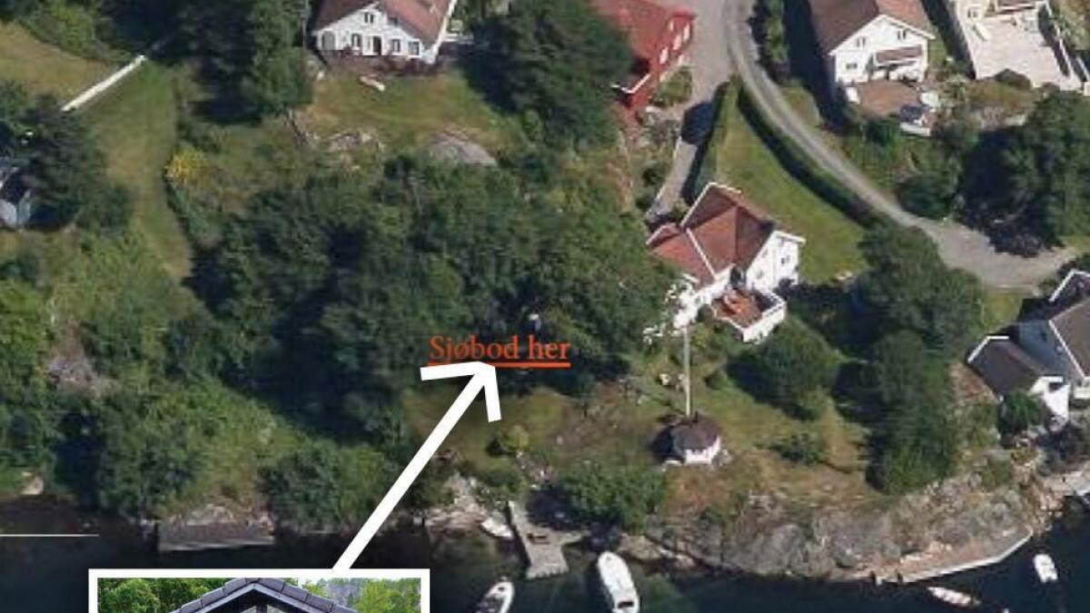 Politikerne sier ja til at Bente og Thor Berg får sette opp en «sjøbod» (innfelt) på 20 kvm litt opp fra sjøen i Tybakken 70 på Tromøy.