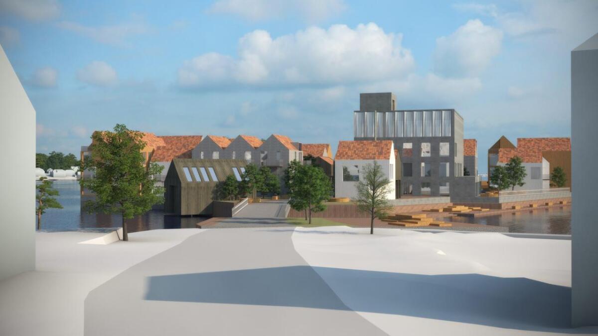 Tone Dalen skriver om mulig utbygging av Torskeholmen. Skissen viser forslaget til Vill Urbanisme som falt mest hos utvalget som skulle vinner. Dette er sett fra nedre del av Storgaten.