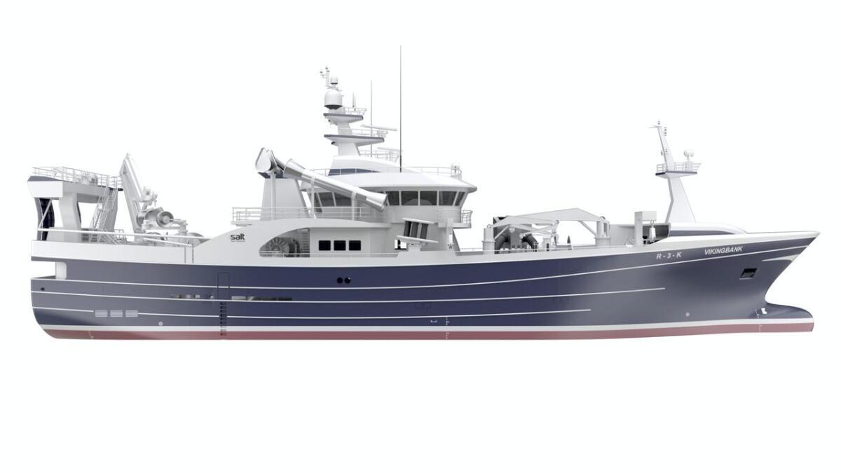 Design frå Salt Ship Design på Leirvik skal byggjast hos FMV på Fitjar. «Vikingbank» skal leverast hausten 2020.