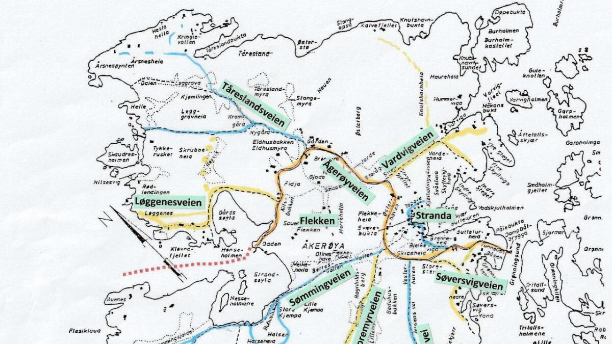 Kartet er forslaget Ågerøya vel sendte til kommunen i forbindelse med saksbehandlingen.
